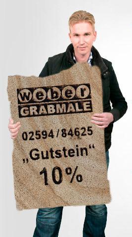 Kai Schrade von Weber Grabmale präsentiert Ihnen 10% Ermäßigung auf Lagersteine mit dem Weber-Gutstein